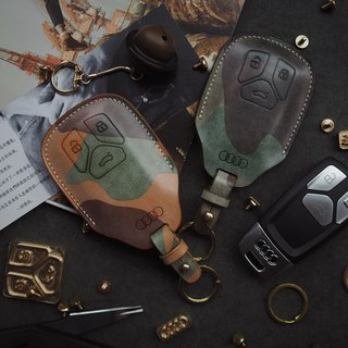 Audi Audi car key set Italy wax wax camouflage vegetable tanned leather handmade leather design customized