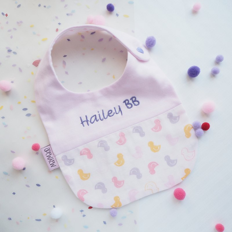 """Togetherness""Handmade Name Embroidery Baby Bib - Pink Chick Style"