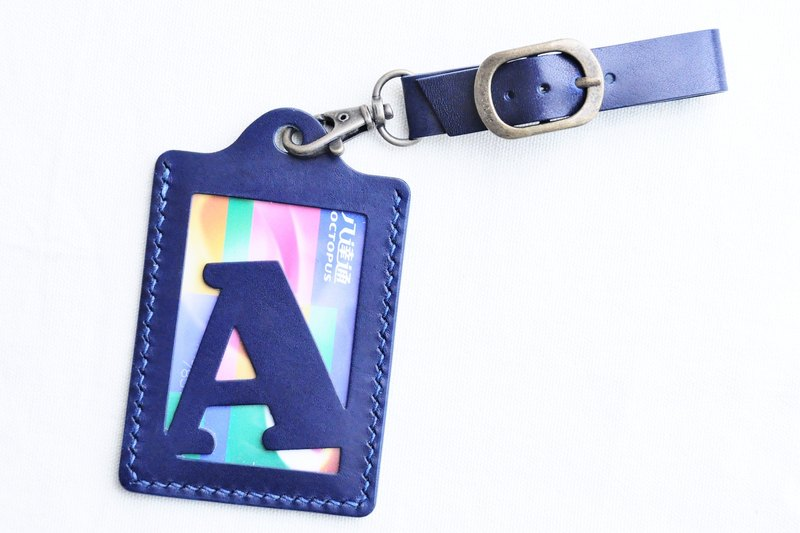 [Rainbow 🌈 RAINBOW8 | deep blue and blue | CIELO- initial letter A to Z English letters luggage tag] good sewing leather bag free hand-pressed bag rainbow card holder card holder name card holder luggage travel accessories travel folder clip simple and pra