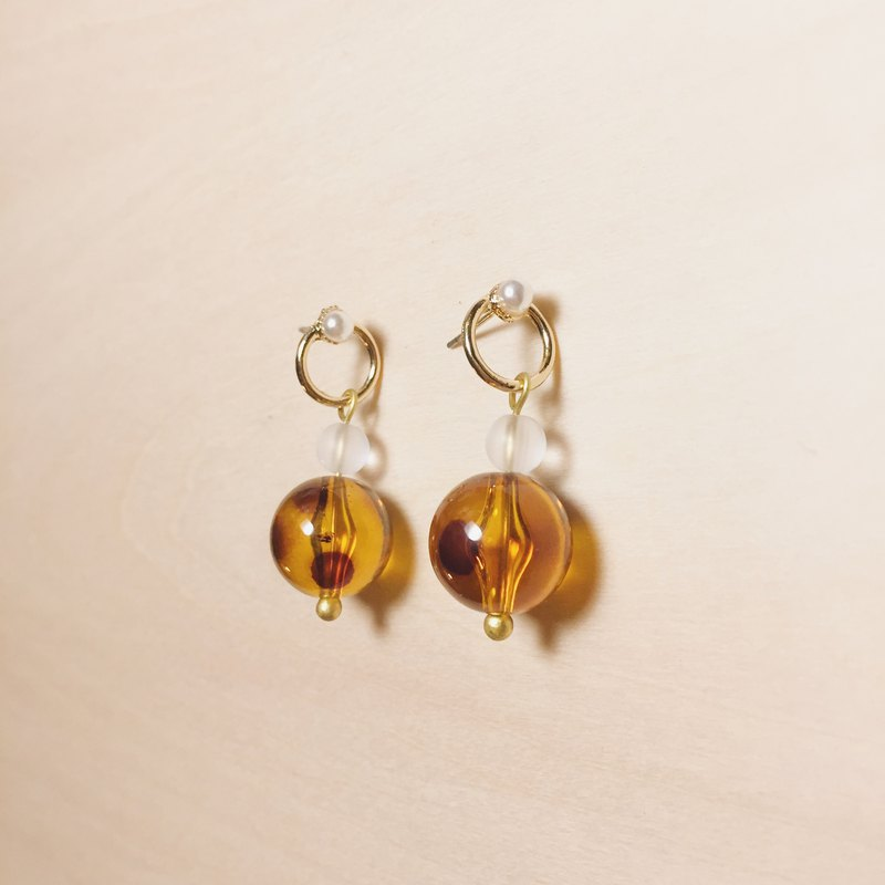 Vintage Openwork Pearl Amber Earrings