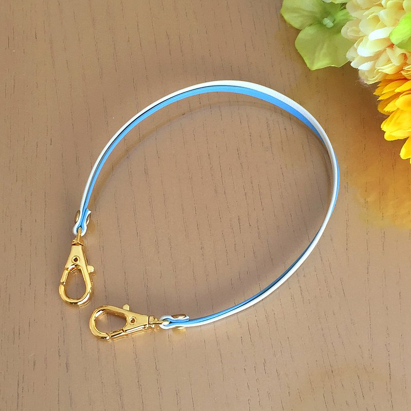 "Two-tone color Leather strap ( Light Blue and Ivory ) ""Clasps : Gold"""