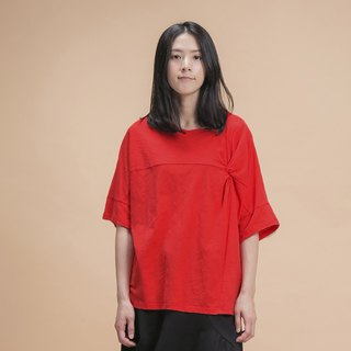 a la sha+a three-dimensional twisted wrinkled cotton T-red