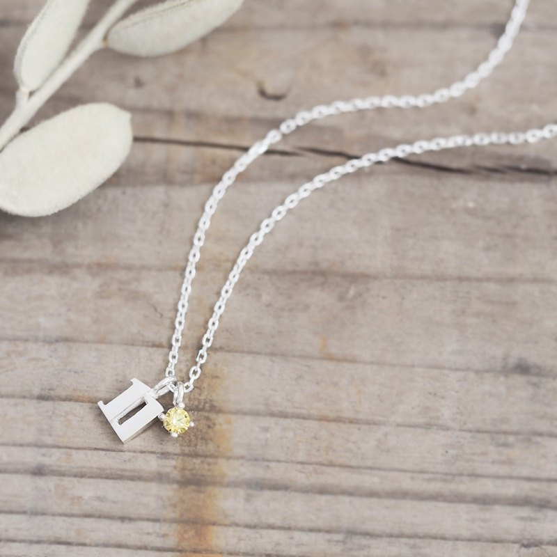 Numbers & November Birthstone Citrine Necklace 925 Silver