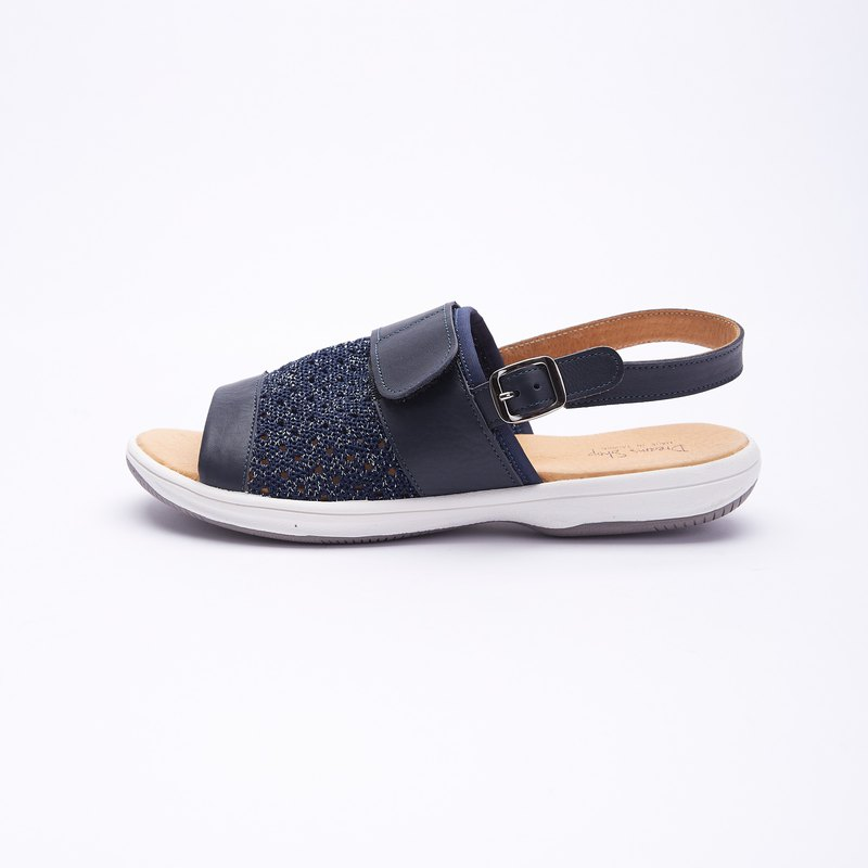 Large size sandals 41-46 Made in Taiwan Knitted instep ultra lightweight leather sandals 2.5cm blue