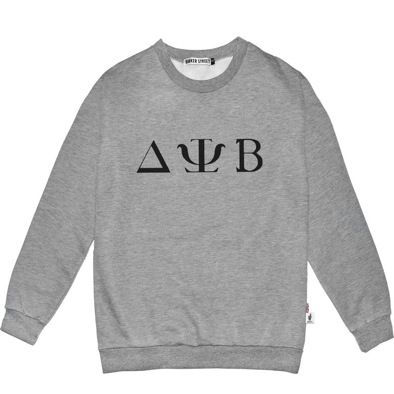 British Fashion Brand -Baker Street- Greek Font Printed Sweatshirt