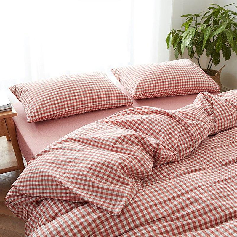小方格紅 水洗棉 標準雙人四件組床包(台灣尺寸)