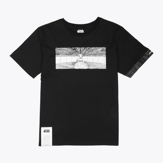 Death Star Interior Concept Illustration - Stitching Sleeve Print T-Shirt