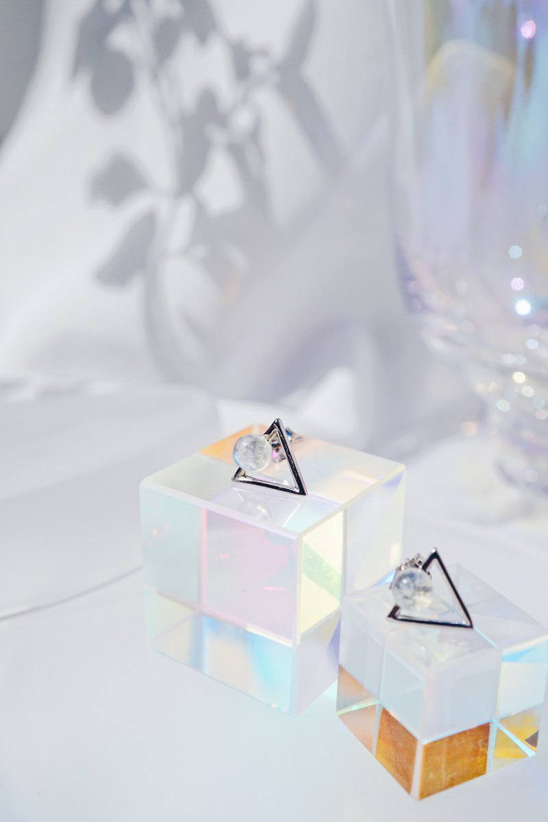 Moonstone Triangle 925 silver earrings