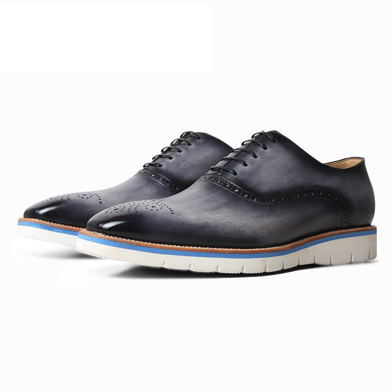Leather craftsman gray gradient dyed carved decorative calfskin oxford Oxford casual shoes