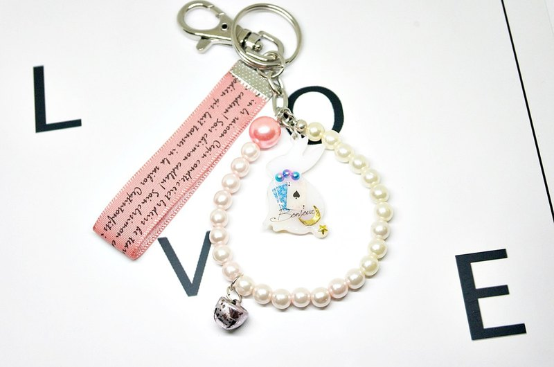 >>>>Key ring + bag pendant - white double-sided rabbit - => limited *1 #可爱# playful