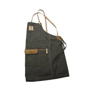 Cross-woven canvas apron with iron gray cans for canvas zuo zuo handmade leather belt aprons chest skin flap logo can be customized