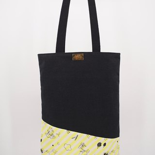 Tote Bag in Black Cats on Yellow Stripes