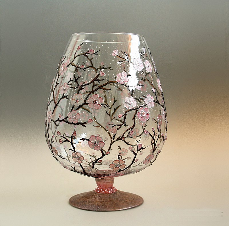 Glass Vase Cherry Blossom Sakura Design Hand Painted