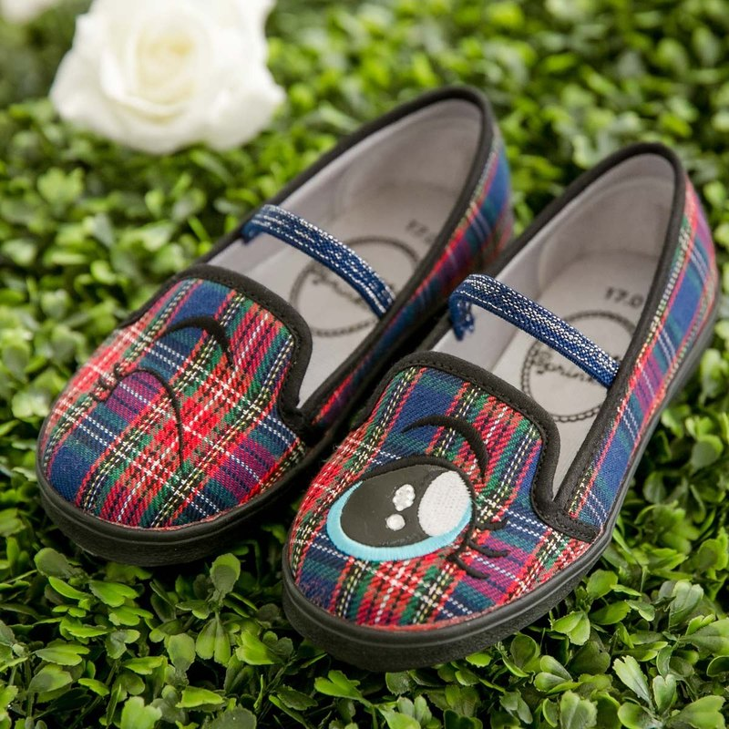 Remy Blue Plaid Eyes Loafers (Children) - (Specialty items only accept returns)