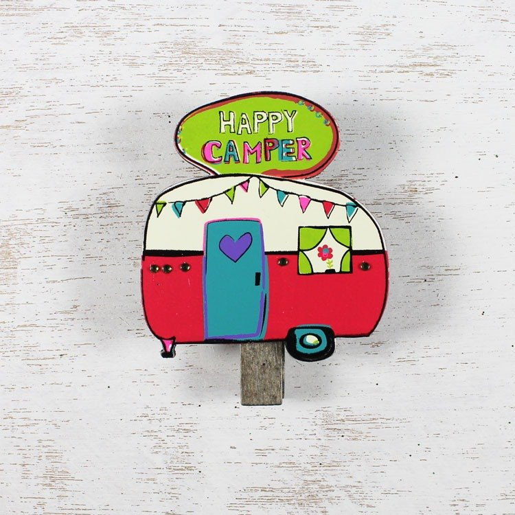 Modeling wood clip magnet - Happy Camper ∣CHCL037