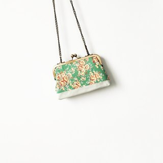 Green colorful flowers small clasp frame bag/with chain/ cosmetic bag /