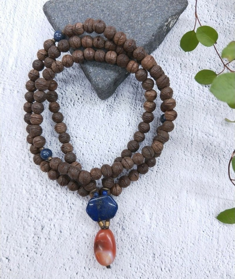 【108 rosary series / unique commodity】 6mm phoenix eye Bodhi*carnelian*lapis lazuli beads