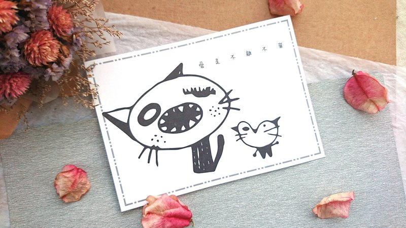 ◆ cat monster postcard - black and white line engage 4 ◆
