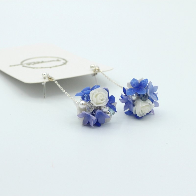 Pamycarie Spring resin clay sapphire blue hydrangea rose 925 sterling silver earrings
