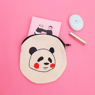 パンダPanda round small bag (slanted back rope) / 绢版 hand-printed