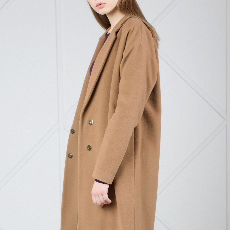 Camel Wool and Cashmere - Blend Cocoon Coat