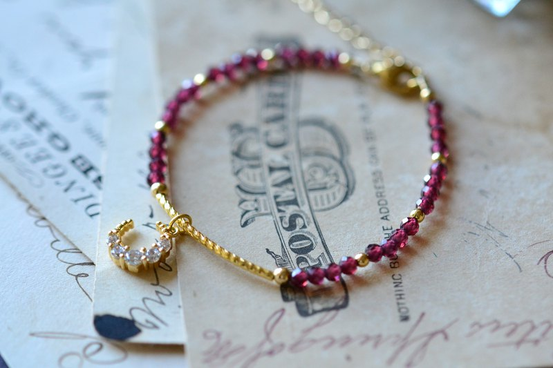 Garnet and Red Moon Natural Stone 18K Gold Plated Bracelet