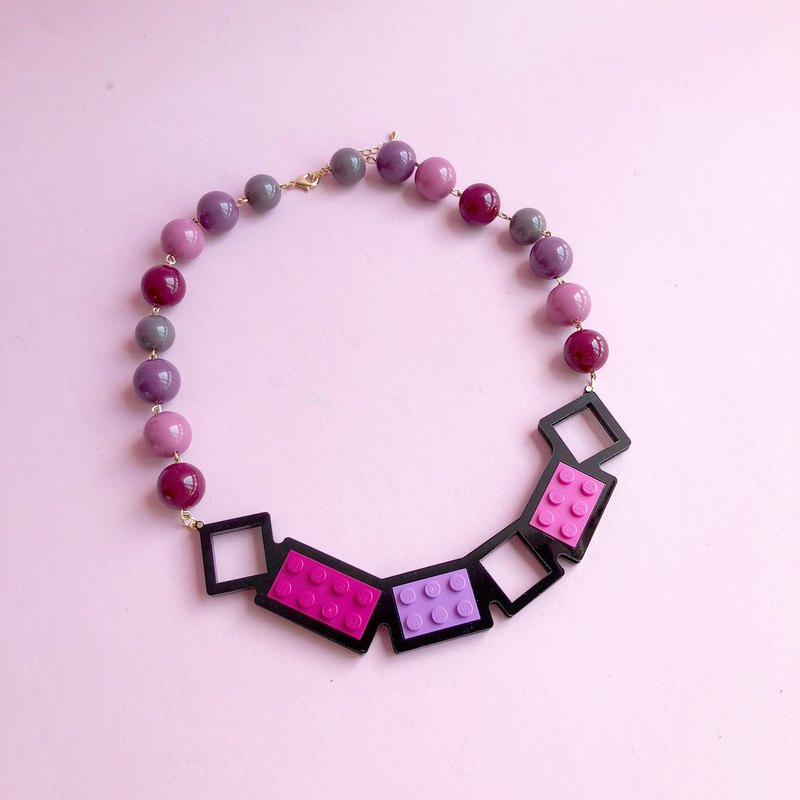Macau Lego LEGO Jewelry Pink Cherry Blossom Raspberry Red Acrylic Necklace