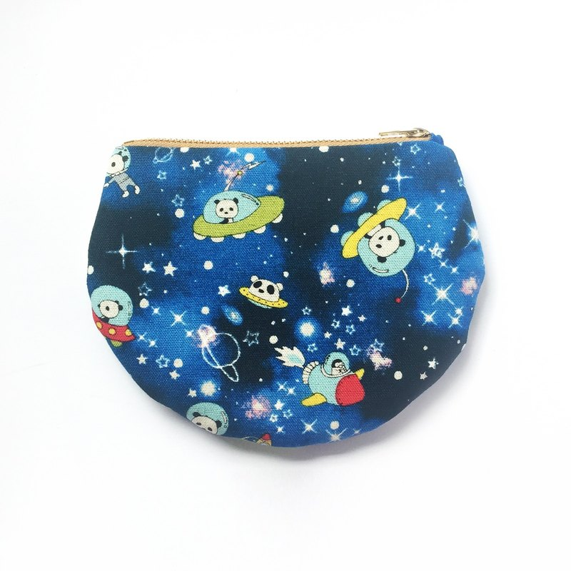 Cute Panda in Space Coin Purse Small Zipper Bag, Half Moon