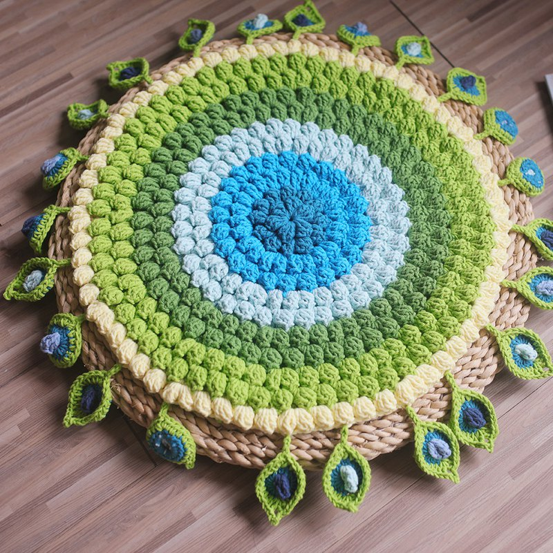 Limited peacock 翎 green forest seat cushion cushion dining chair cushion woven chair cushion Crochet