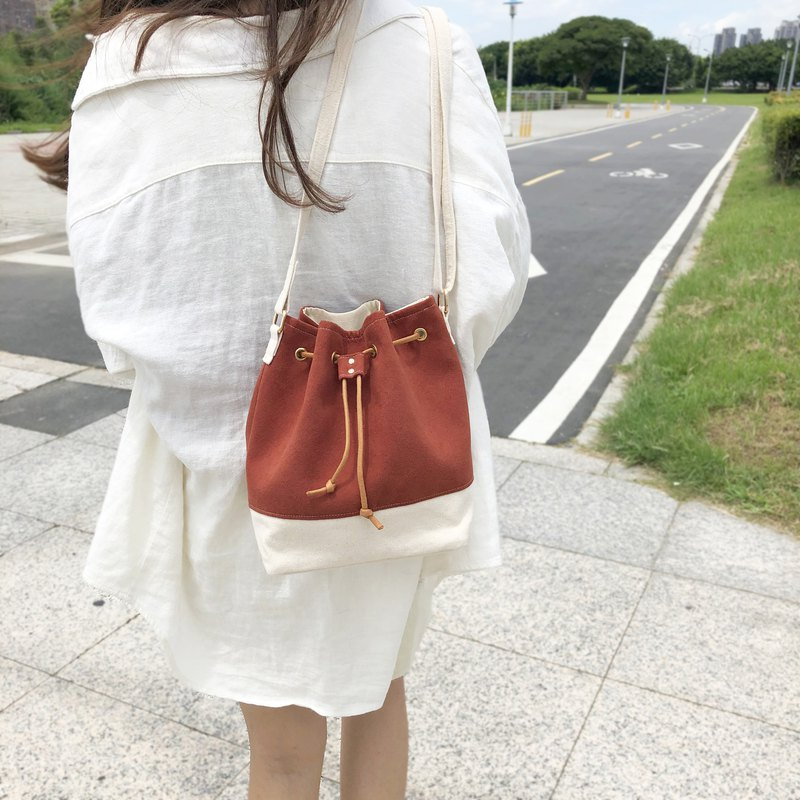 Brick red suede bucket bag shoulder bag beam bag adjustable strap