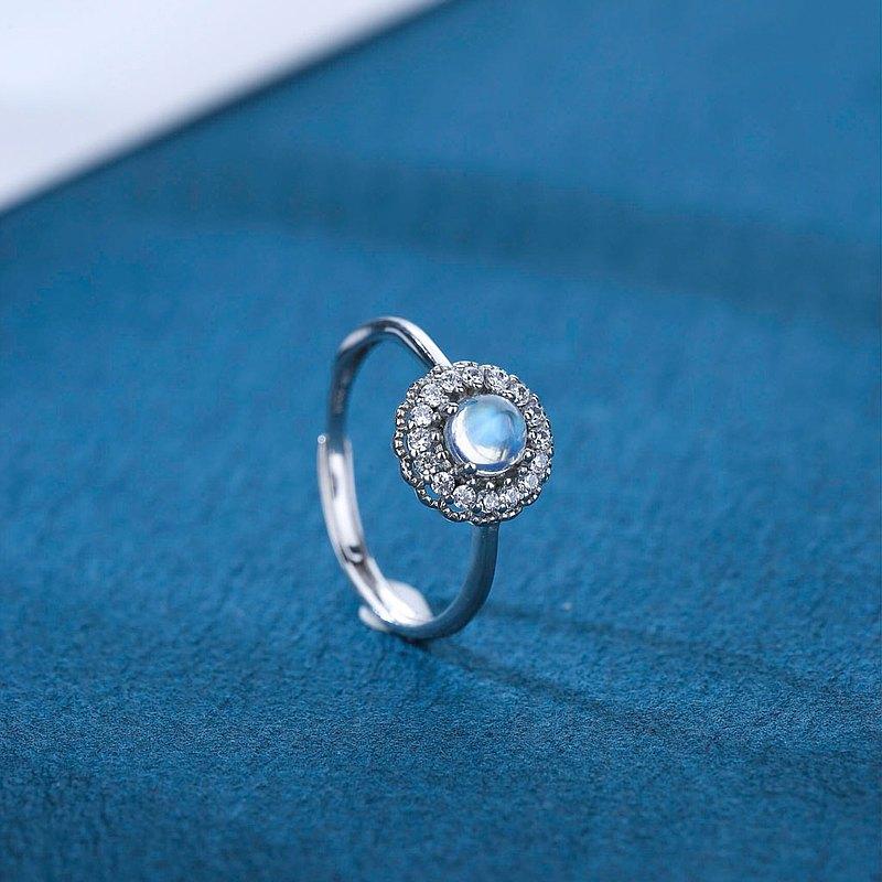 月光石925純銀精鍍亮澤白金戒指