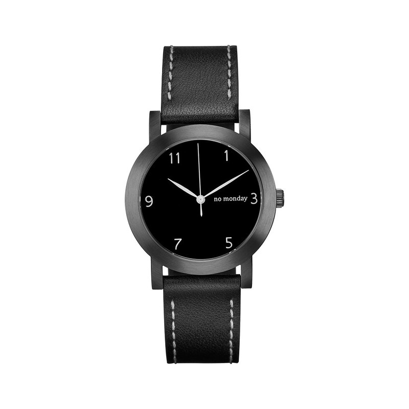 NO Monday Dropped Hours Collection Designer Watch - Black / 35mm