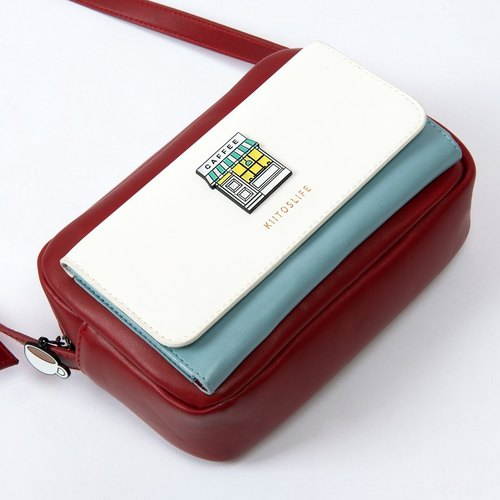 KIITOS met a series of leather PU hit color square Messenger Bag - coffee shop models