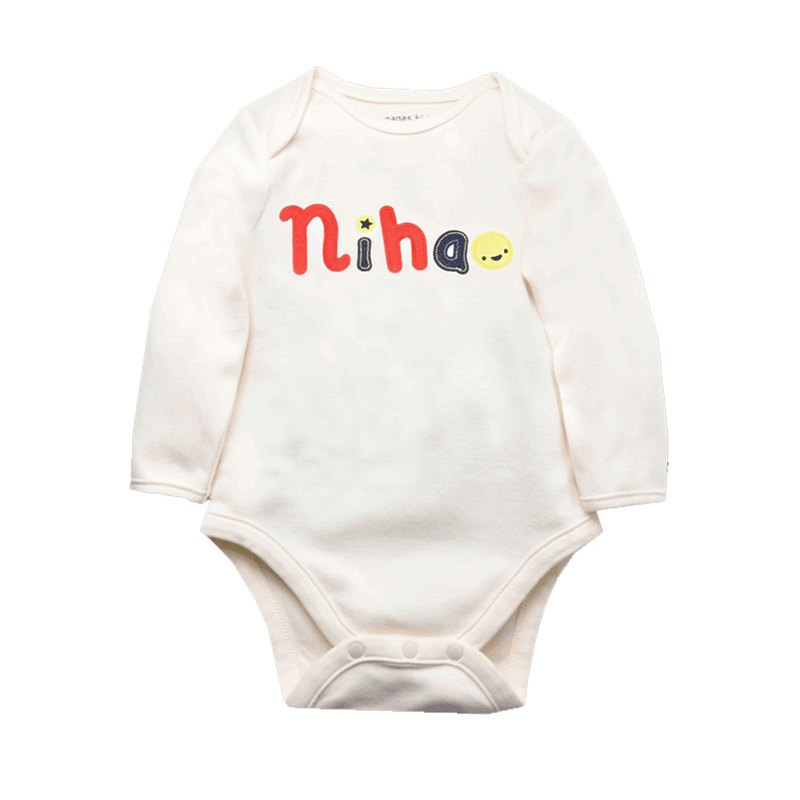 Baby Neutral Baby Long Sleeve Bodysuit 'Nihao'