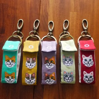 Classical cat embroidery long key ring cat head 10 color (free embroidery english abbreviation)