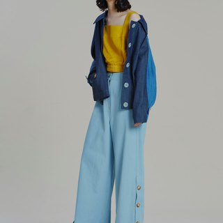 Shan Yong hem side slit denim wide pants
