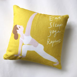 Eat Sleep Yoga Repeat Yoga Girl Pillow Fluff Pillow - with Pillow Mustard