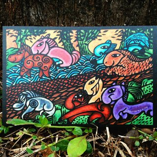 【Speedy Success】: Eight horses‧Original wood carvings postcards.