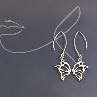 Openwork Butterfly 925 Silver Earrings (pair)