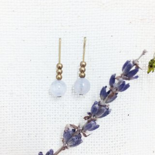 Laolin groceries l natural stone brass earrings good luck series - sea blue treasure ear l ear l ear clip