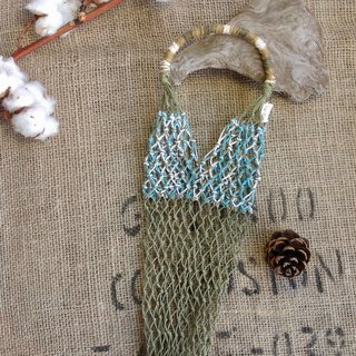 American twine hand-woven green bag - dark green and mixed blue and white - wine bottle - hand shake cup - ice dam cup