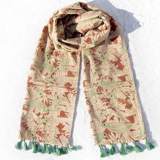 New Year gift birthday gift Valentine's Day gift limited a hand-sewn cotton scarves / embroidery scarves / hand-embroidered scarves / hand-sewn cotton scarves - fresh forest
