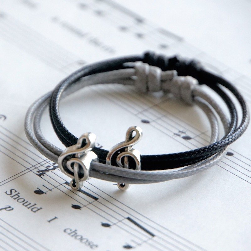 ITS-B809 [Minimal series, music fans] 1 high-pitched wax rope bracelet. black, grey.