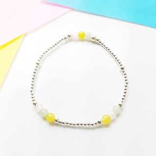 [ColorDay] Hi Zizi Small Stone ~ Pink Crystal _ Tianhe Stone _ Rose Quartz_Amazonite_Yellow Jade Silver Bracelet ロ ー ズ ク オ ー ツ _ ア メ ジ ス Suites _ ト パ ー ズ