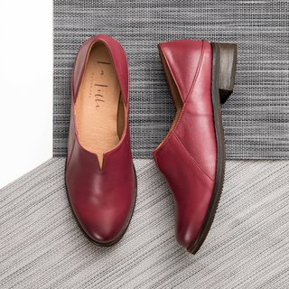 Small V sheepskin low heel shoes _ red