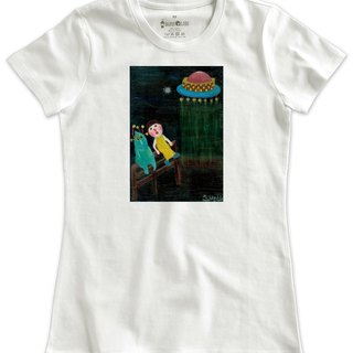 Classic white short-sleeved T-shirt_Who is the alien? (Female M is not in stock)