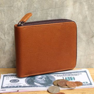 Leather Wallet - Zip Around S - Tan (Genuine Cow Leather) / Small Wallet