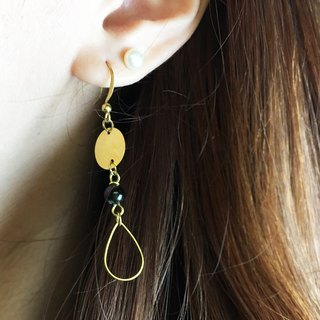 Can change clip - brass drop earrings - push the boat - a single branch