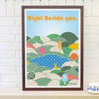 Original Nordic simple retro poster Right Beside You (without frame)