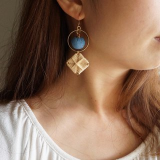 Beige spell pink blue square ring braided asymmetric earrings